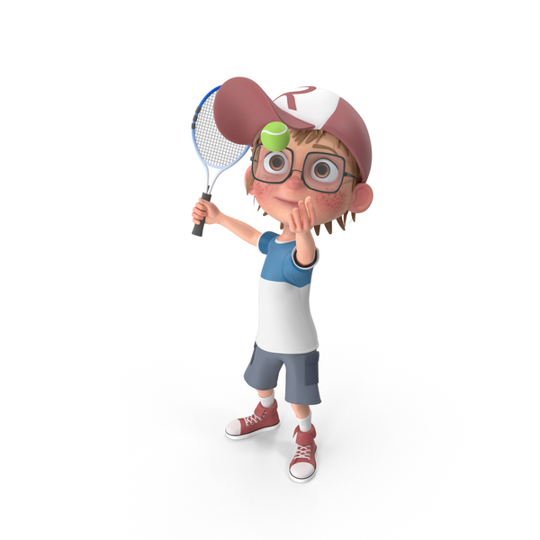 Cartoon Boy Harry Playing Tennis PNG & PSD Images