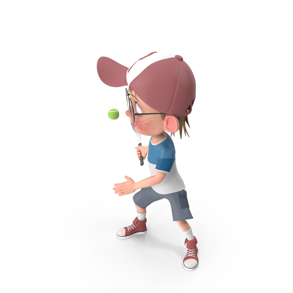 Cartoon Boy Harry Playing Tennis PNG & PSD Images
