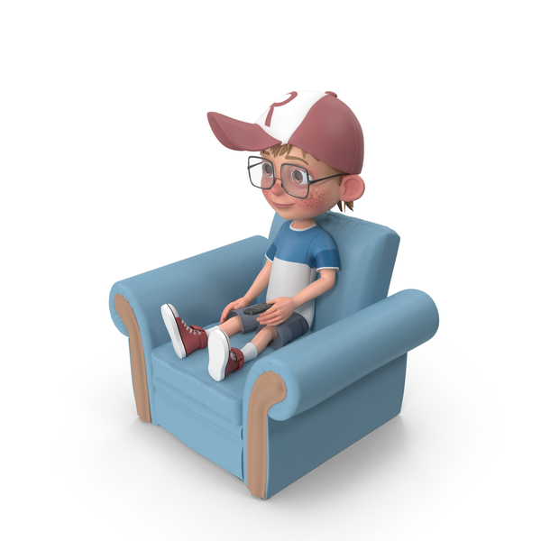 Cartoon Boy Harry Sitting On Armchair PNG & PSD Images