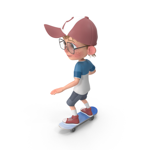 Cartoon Boy Harry Skateboarding PNG & PSD Images