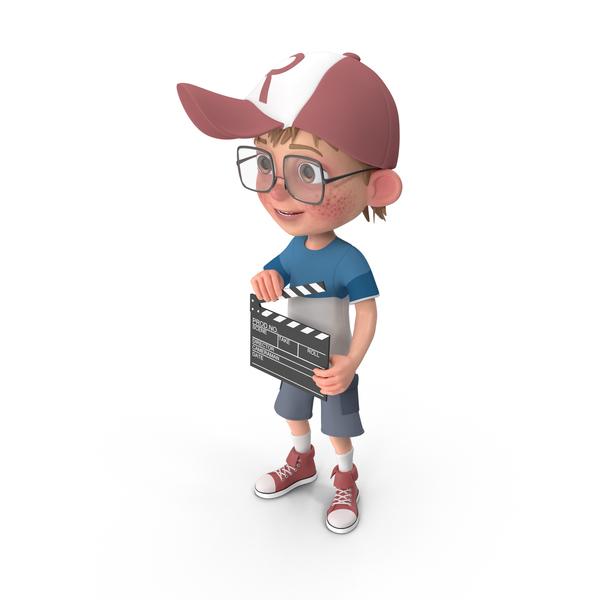 Cartoon Boy Harry Using Clapboard PNG & PSD Images