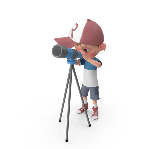 Cartoon Boy Harry Using Telescope PNG & PSD Images