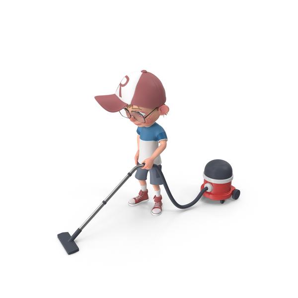 Cartoon Boy Harry Vacuuming PNG & PSD Images