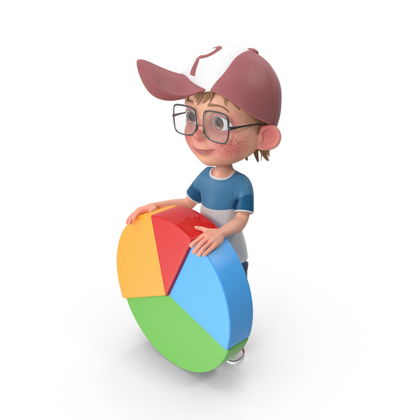 Cartoon Boy Harry With Pie Chart PNG & PSD Images