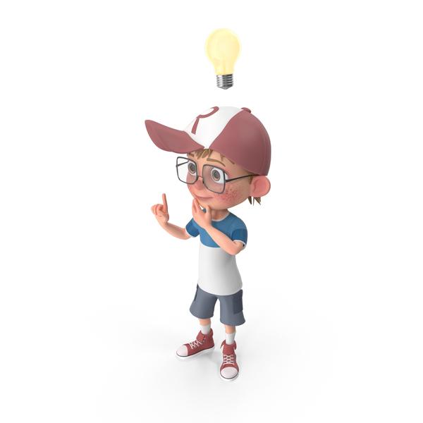 Cartoon Boy Has An Idea PNG & PSD Images