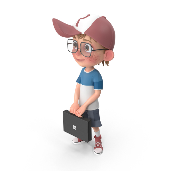 Cartoon Boy Holding A Briefcase PNG & PSD Images