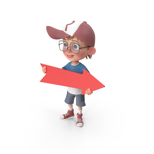 Cartoon Boy Holding Arrow PNG & PSD Images