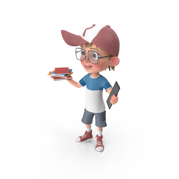 Cartoon Boy Holding Books And Tablet PNG & PSD Images