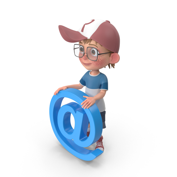 Cartoon Boy Holding Email Sign PNG & PSD Images