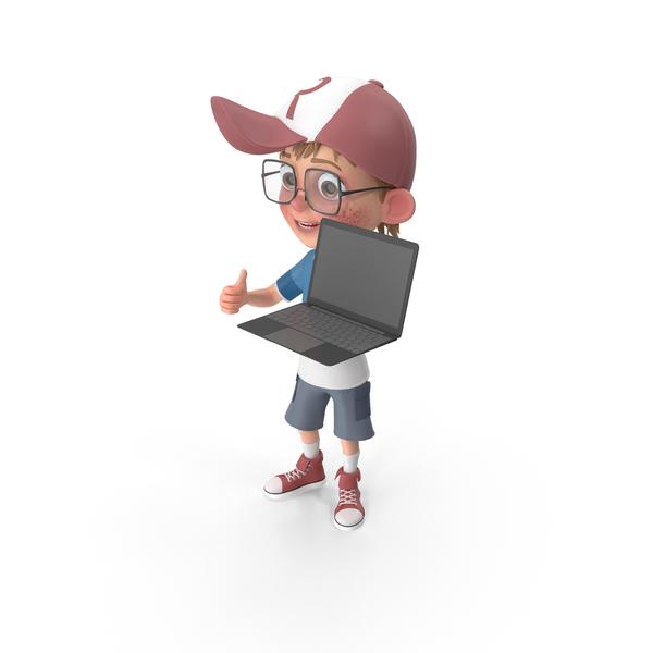 Cartoon Boy Holding Laptop PNG & PSD Images