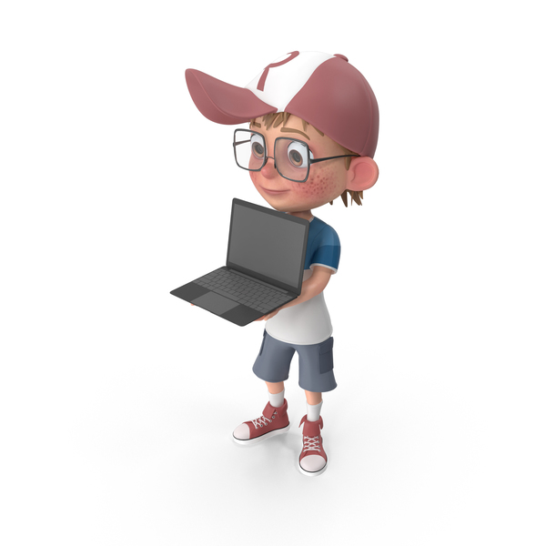 Cartoon Boy Holding Laptop PNG & PSD Images