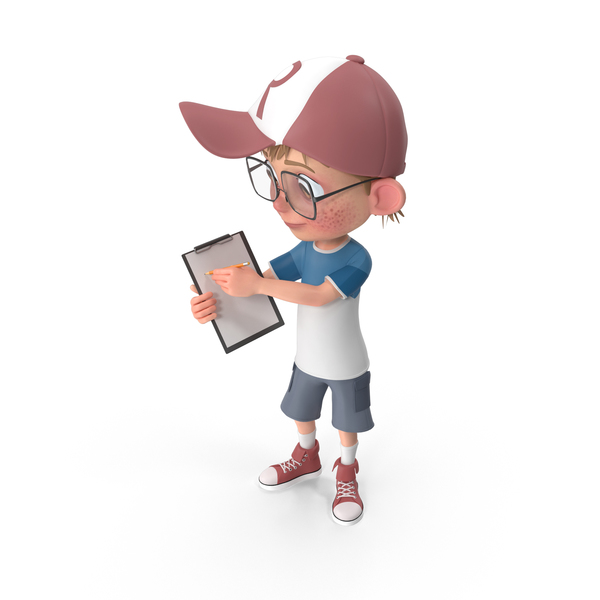 Cartoon Boy Holding Notepad PNG & PSD Images