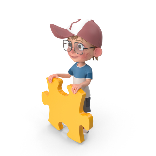 Cartoon Boy Holding Puzzle Piece PNG & PSD Images