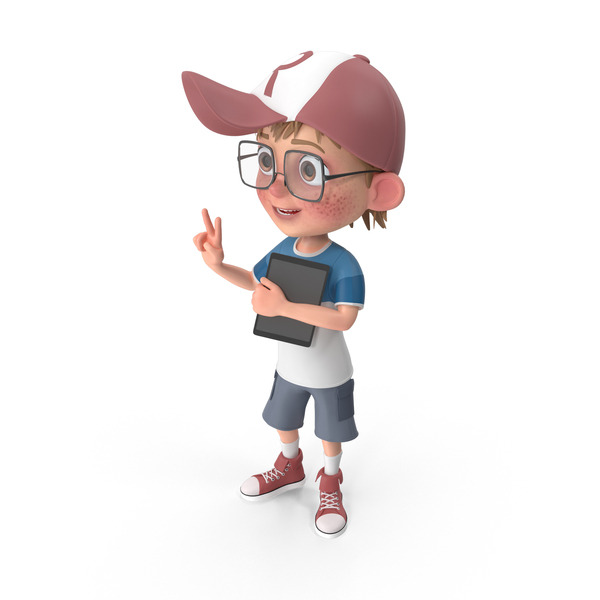 Cartoon Boy Holding Tablet PNG & PSD Images