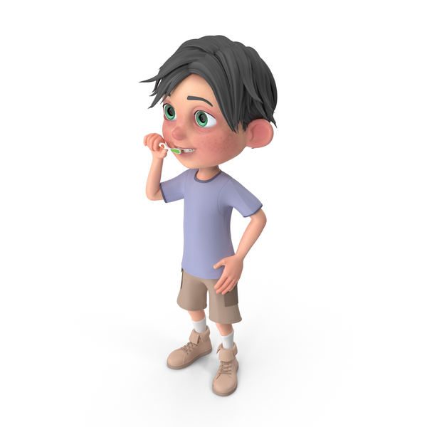Cartoon Boy Jack Brushing His Teeth PNG & PSD Images