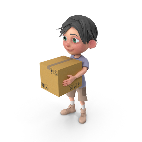 Cartoon Boy Jack Carrying A Box PNG & PSD Images