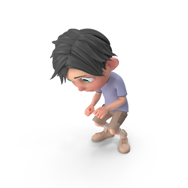Cartoon Boy Jack Crouching PNG & PSD Images