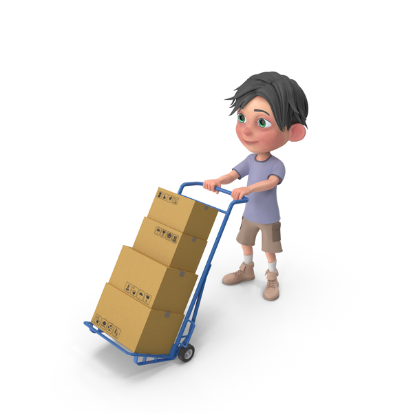 Cartoon Boy Jack Delivering Boxes PNG & PSD Images