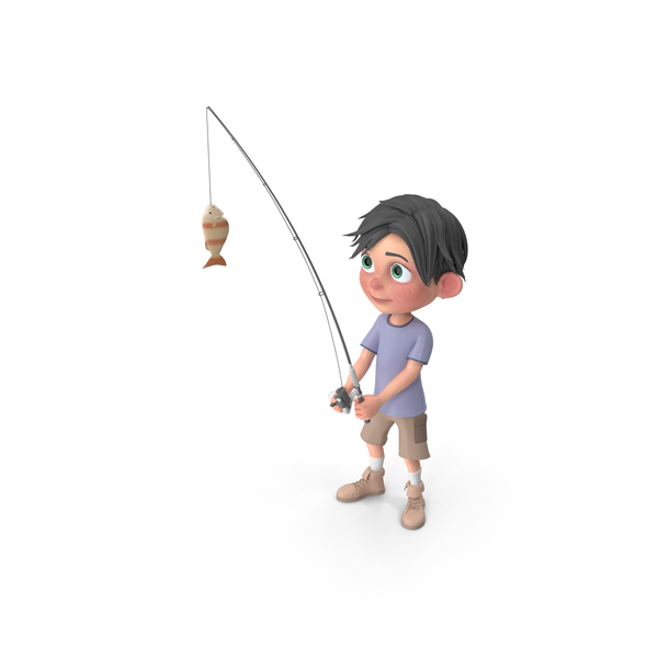 Cartoon Boy Jack Fishing PNG & PSD Images
