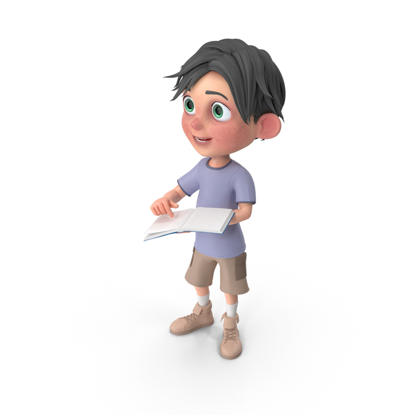 Cartoon Boy Jack Holding Book PNG & PSD Images