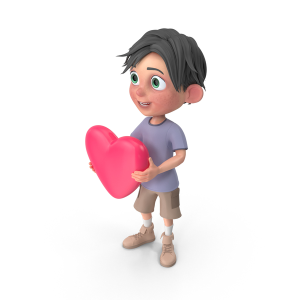 Cartoon Boy Jack Holding Heart PNG & PSD Images