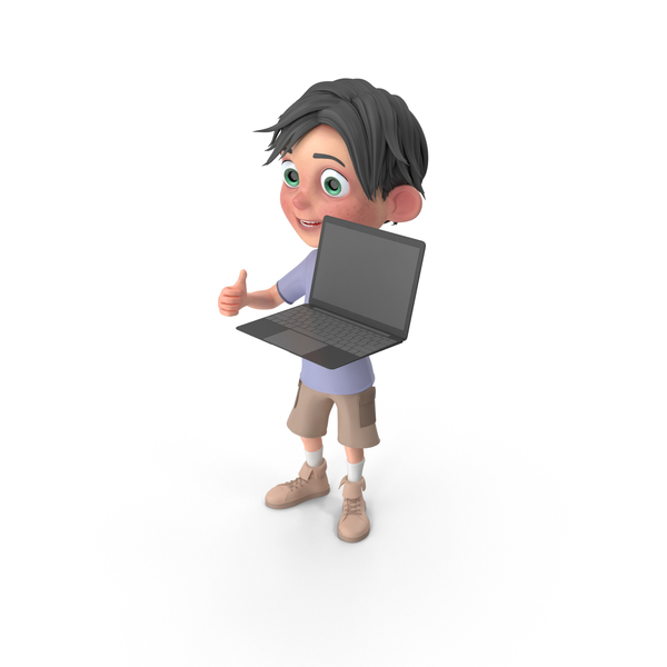 Cartoon Boy Jack Holding Laptop PNG & PSD Images