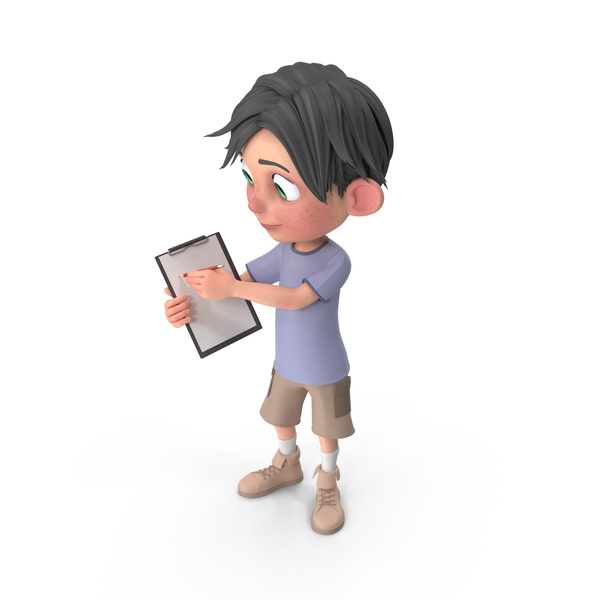 Cartoon Boy Jack Holding Notepad PNG & PSD Images
