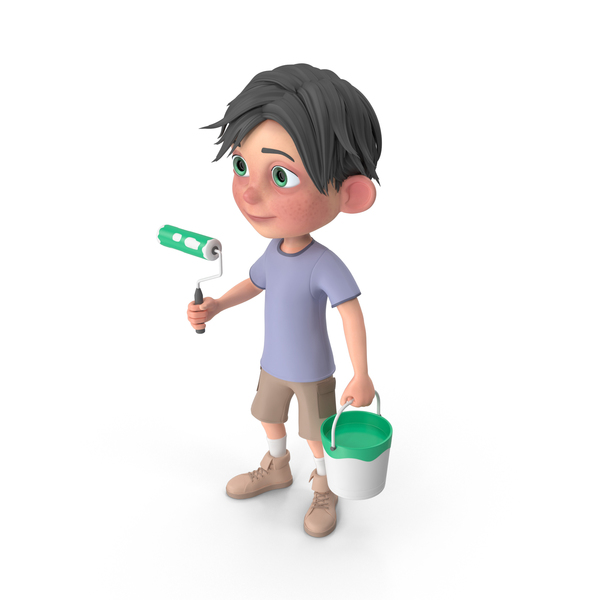 Cartoon Boy Jack Holding Paint Roller PNG & PSD Images