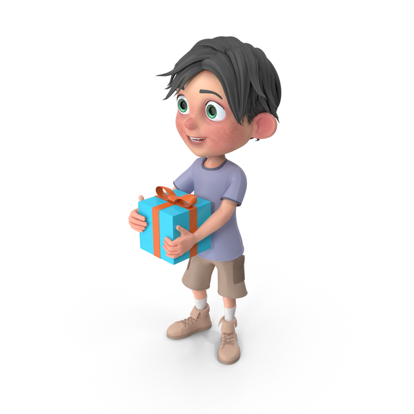 Cartoon Boy Jack Holding Present PNG & PSD Images