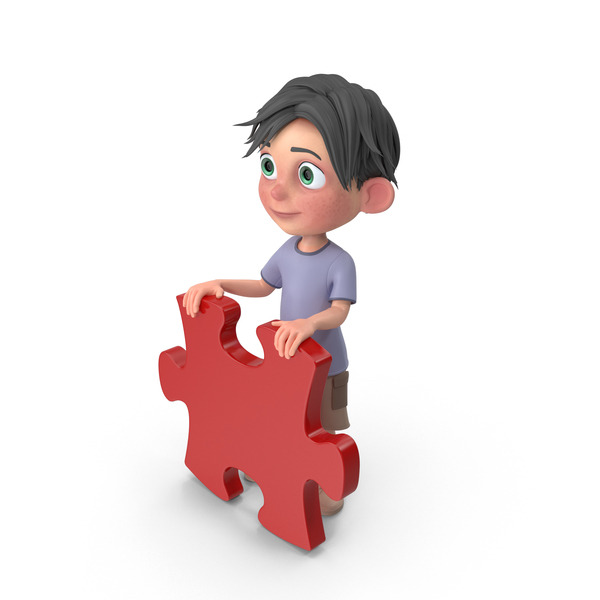 Cartoon Boy Jack Holding Puzzle Piece PNG & PSD Images