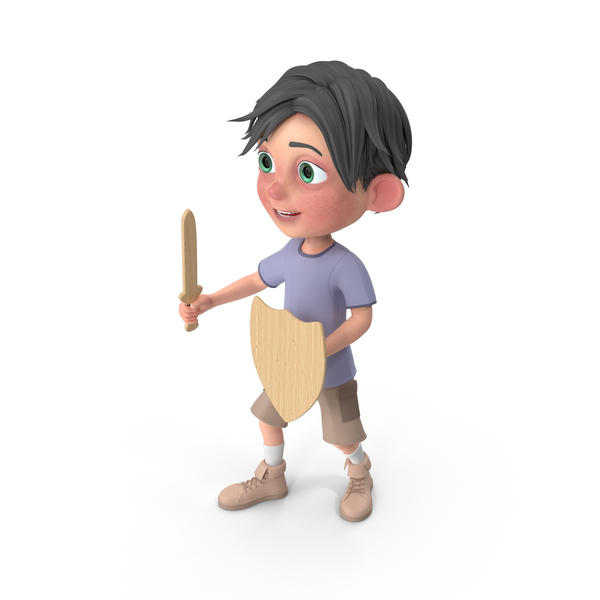Cartoon Boy Jack Holding Sword And Shield PNG & PSD Images