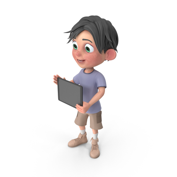 Cartoon Boy Jack Holding Tablet PNG & PSD Images