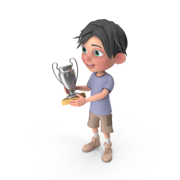 Cartoon Boy Jack Holding Trophy Cup PNG & PSD Images