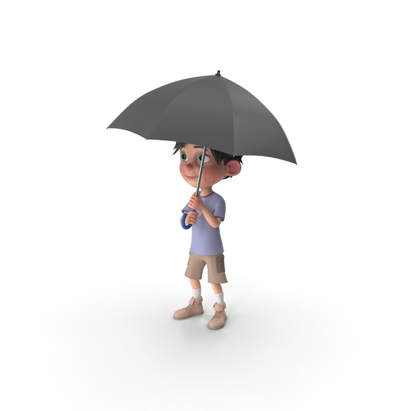 Cartoon Boy Jack Holding Umbrella PNG & PSD Images