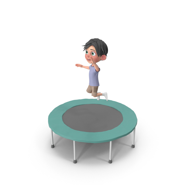 Cartoon Boy Jack Jumping On Trampoline PNG & PSD Images