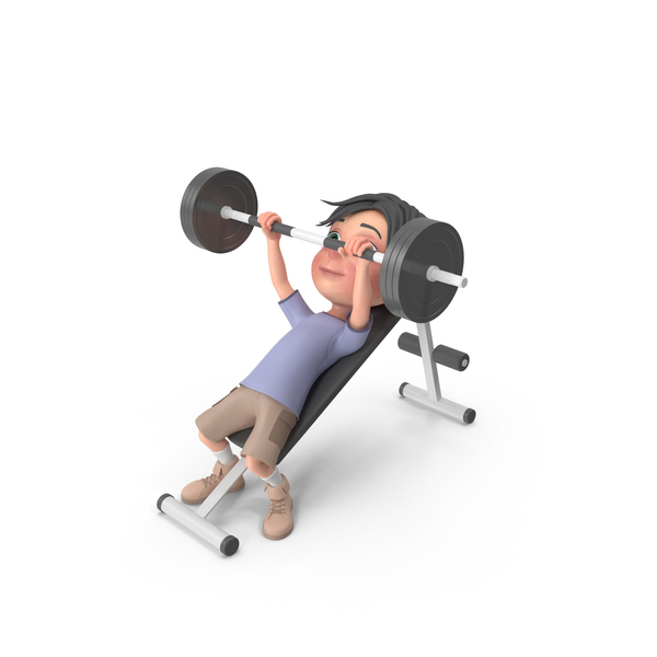 Cartoon Boy Jack Lifting Barbell PNG & PSD Images