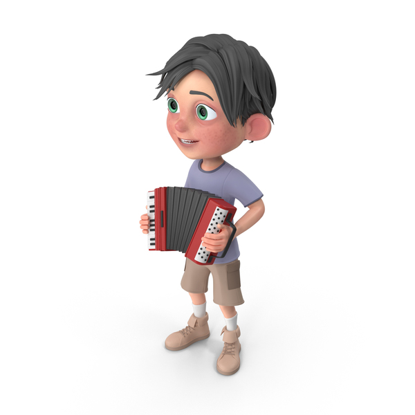 Cartoon Boy Jack Playing Accordion PNG & PSD Images