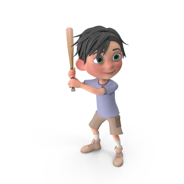 Cartoon Boy Jack Playing Baseball PNG & PSD Images