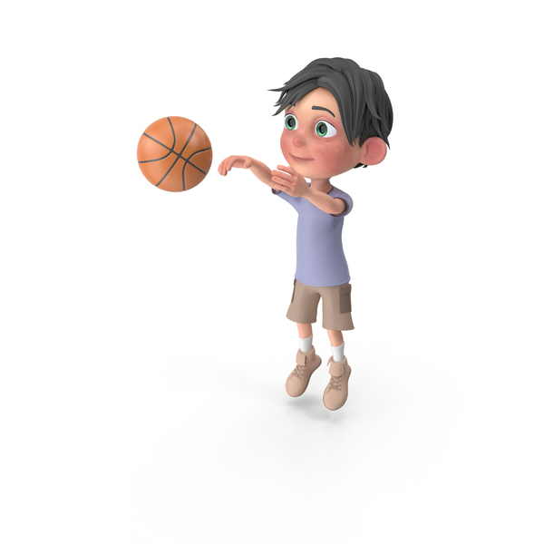 Cartoon Boy Jack Playing Basketball PNG & PSD Images