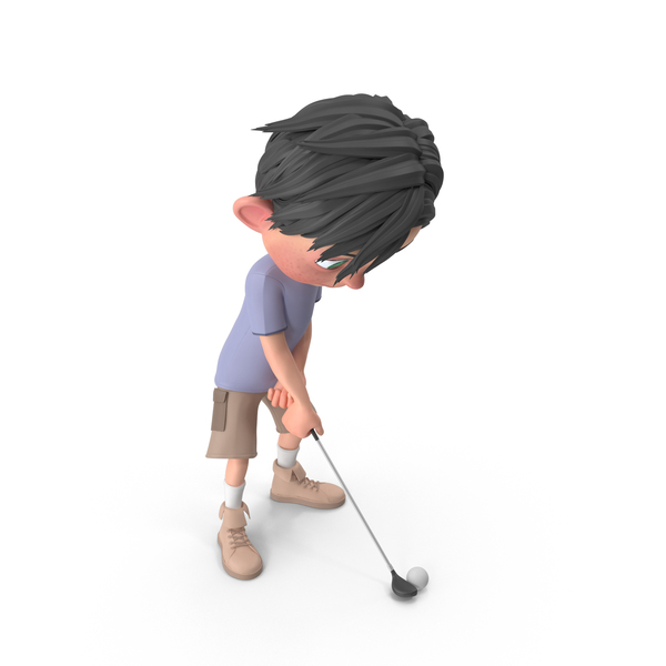 Cartoon Boy Jack Playing Golf PNG & PSD Images