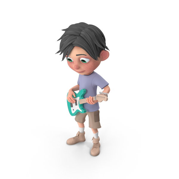Cartoon Boy Jack Playing Guitar PNG & PSD Images