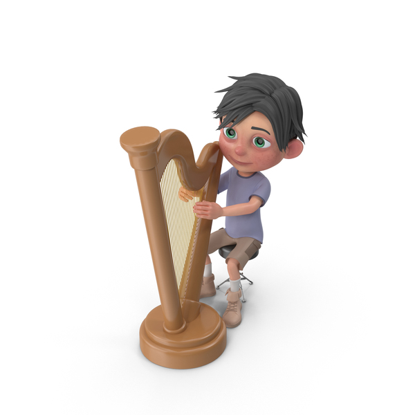 Cartoon Boy Jack Playing Harp PNG & PSD Images