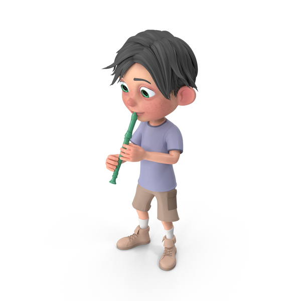 Cartoon Boy Jack Playing Recorder PNG & PSD Images