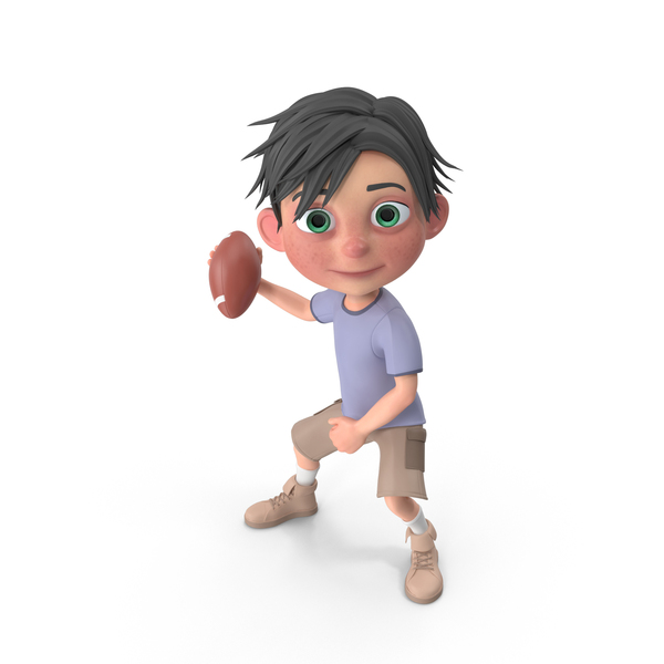 Cartoon Boy Jack Playing Rugby PNG & PSD Images