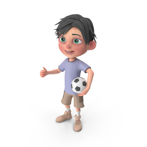 Cartoon Boy Jack Playing Soccer PNG & PSD Images