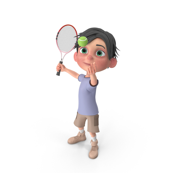 Cartoon Boy Jack Playing Tennis PNG & PSD Images