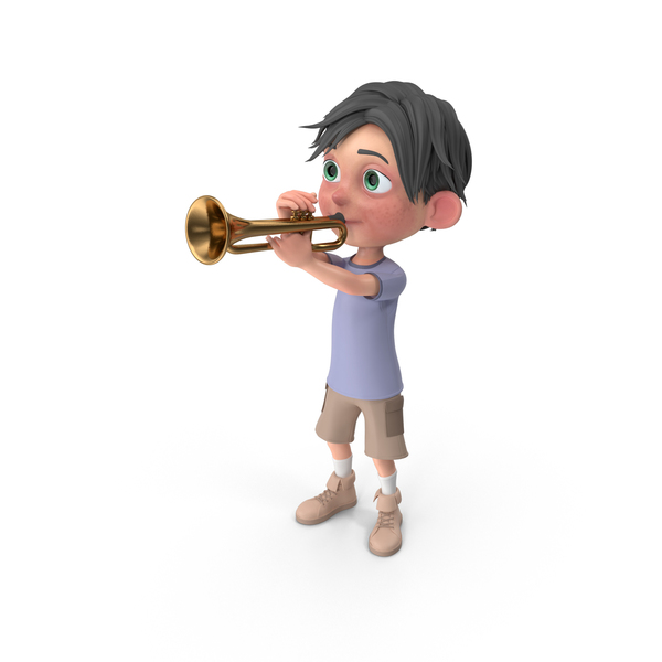 Cartoon Boy Jack Playing Trumpet PNG & PSD Images