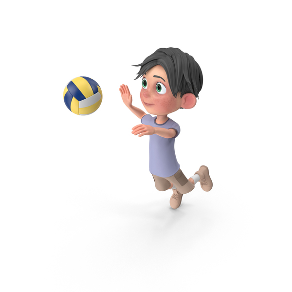 Cartoon Boy Jack Playing Volleyball PNG & PSD Images