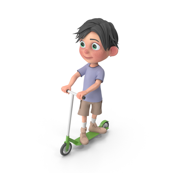 Cartoon Boy Jack Riding Scooter PNG & PSD Images