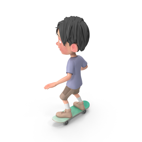 Cartoon Boy Jack Riding Skateboard PNG & PSD Images